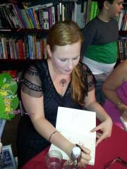 Signing at Avid. Photo by Michelle Slatter.